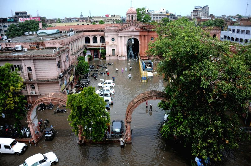 A view of Municipal Corporation of Amritsar (MCA) inundated with water after heavy rains in Amritsar on August 1, 2014.