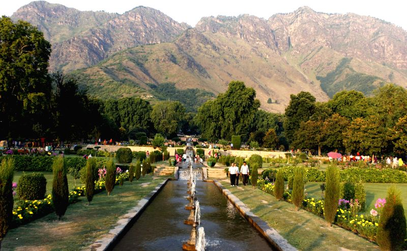 A view of Nishat Gardens in Srinagar on Aug 7, 2014.