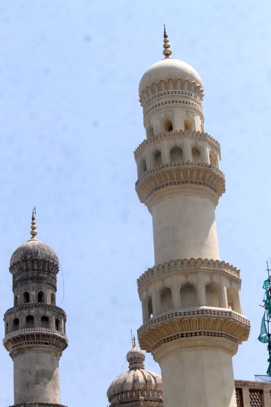 "A view of one of the minars of the ""Charminar"" after chemical washing carried out by Archaeological Survey of India in Hyderabad, on May 29, 2016."