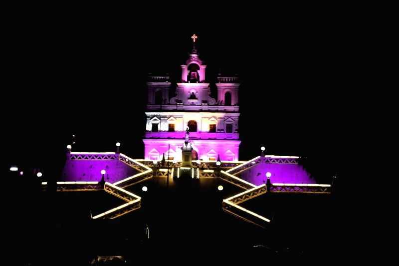 A view of Our Lady of the Immaculate Conception Church during shooting of a Tamil film in Panaji, on Nov 25, 2015.