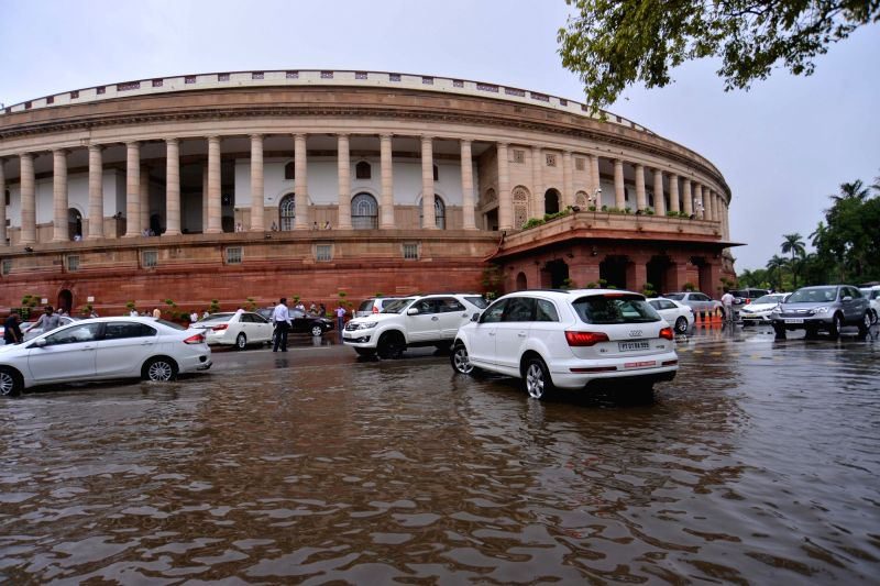 A view of Parliament after rains in New Delhi on July 20, 2018.