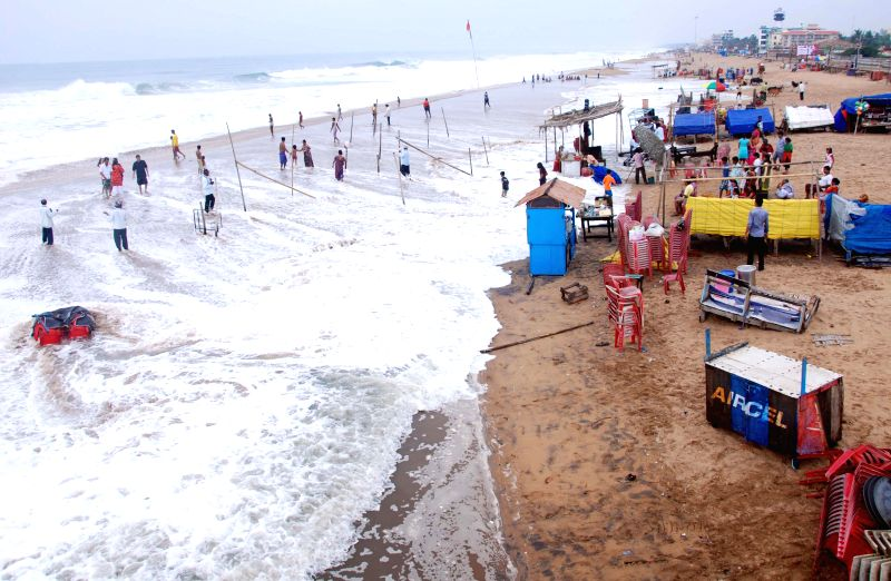 A view of Puri beach during high tide on July 11, 2014.