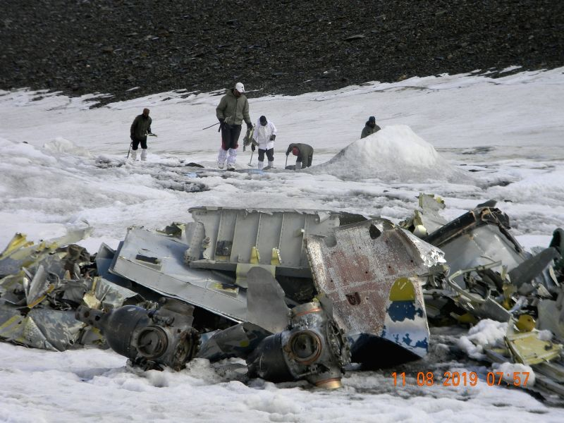 A view of recovered parts of AN-12 BL-534 Aircraft by Dogra Scouts during a expedition, which went missing over Rohtang Pass on 7 February 1968, at Dhaka Glacier. They also recovered mortal remains of soldiers who were onboard.