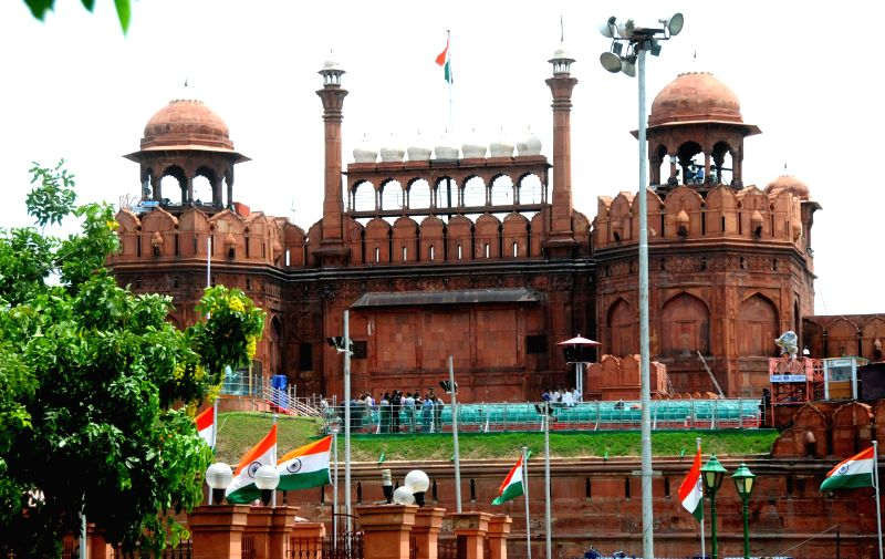 A view of Red Fort on the eve of Independence Day in New Delhi on Aug 14, 2014.