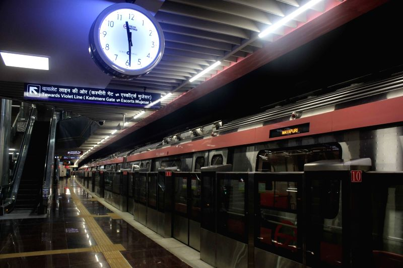 A view of Sarojini Nagar metro station during a media preview of Delhi Metro Pink Line section between Durgabai Deshmukh South Campus and Lajpat Nagar, in New Delhi, on July 27, 2018.