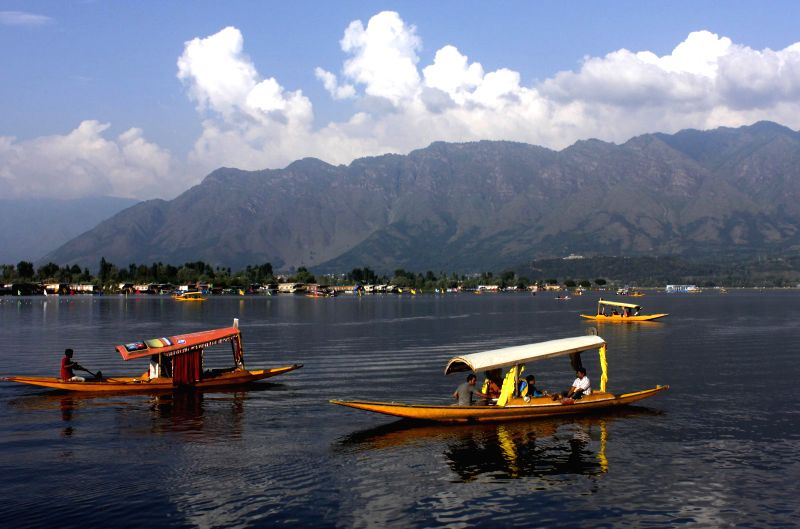 A view of `shikaras` in Dal Lake of Srinagar on Aug 31, 2014.