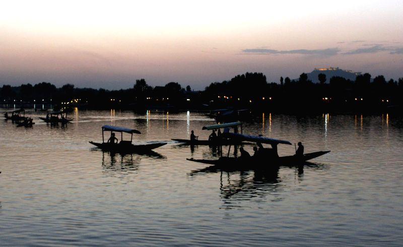 A view of shikaras on Dal Lake in Srinagar.