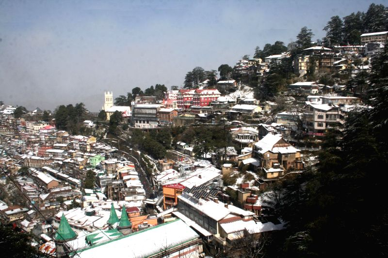 A view of Shimla after snowfalls on March 9, 2015.