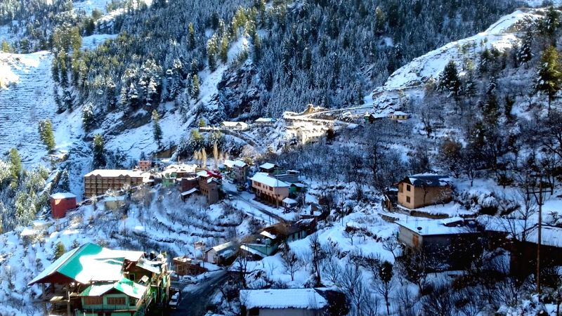 A view of snow clad Bharmour, near Chamba, Himachal Pradesh after the area received first snowfall of the season, on Jan 8, 2019.
