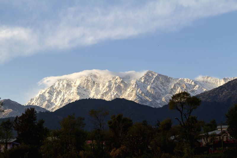 A view of snow covered Dhauladhar range after fresh snowfall from Palampur, Himachal Pradesh on Dec 6, 2018.