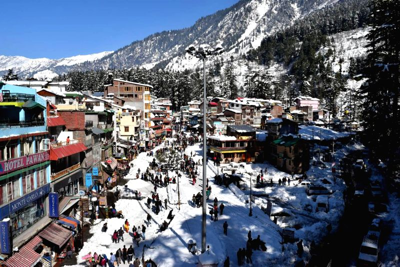 A view of snow covered Manali on Dec 16, 2014.