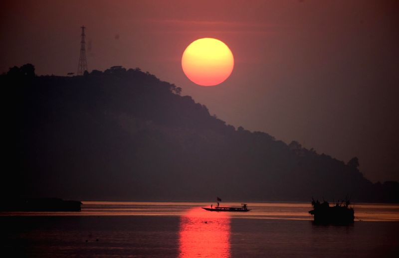 A view of sunset as seen from the banks of Brahmaputra river in Guwahati on Nov 30, 2018.