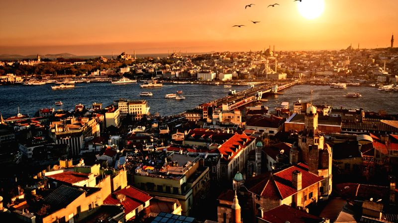 A view of sunset from Istanbul, Turkey.