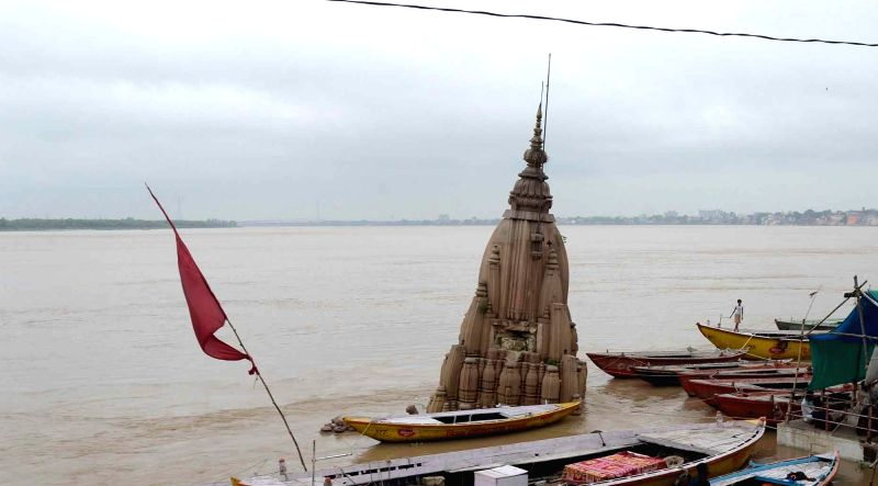 A view of swollen Ganga river in Varanasi on Aug 3, 2018.