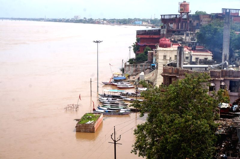 A view of swollen Ganga river in Varanasi on July 29, 2016.