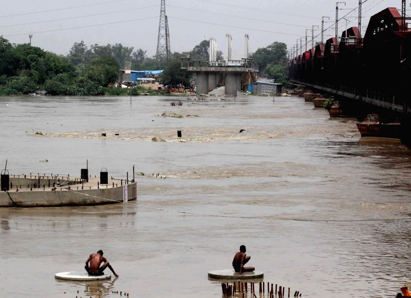 A view of swollen Yamuna river in New Delhi on July 29, 2018.