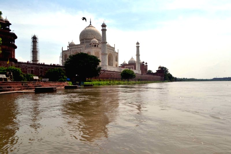 A view of swollen Yamuna river near the Taj Mahal in Agra on Aug. 6, 2016.