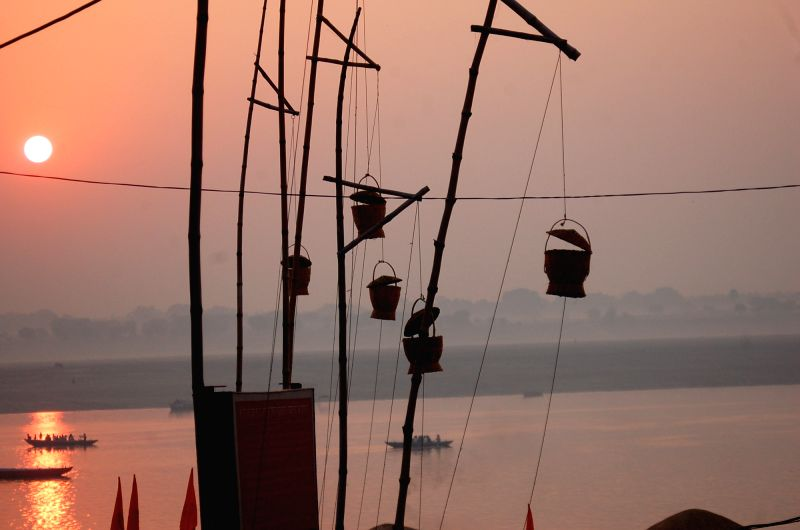 A view of the Akash Deep on the banks of Ganga on the first day of the holy month of Kartik in Varanasi on Oct. 28, 2015.