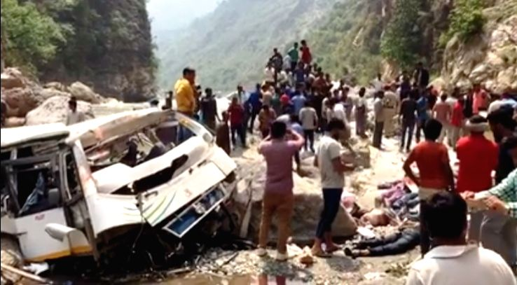 A view of the bus that fell into a river in Himachal Pradesh's Shimla district killing at least 44 passengers on April 19, 2017. The bus, with 46 people on board, was on its way to Tuini from ...