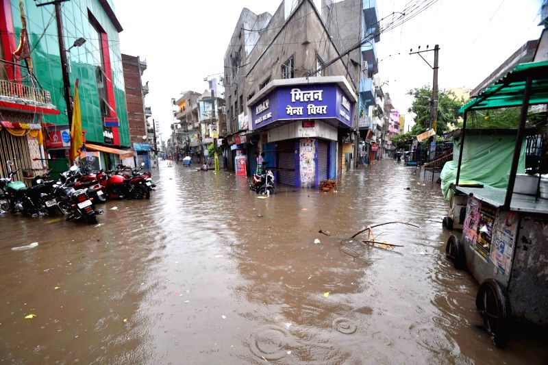 A view of the city's water-logged streets after heavy rains lashed Patna on July 28, 2018.