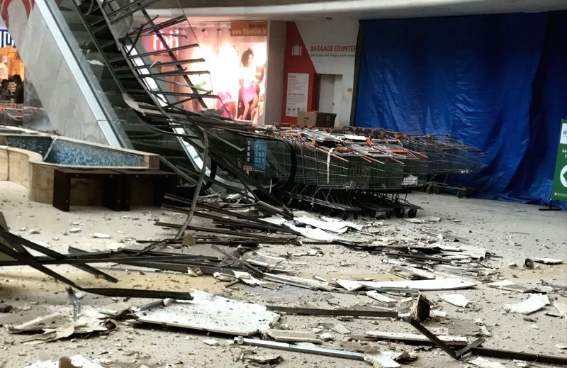 A view of the damaged Raghuleela Mall at Vashi where a portion of the ceiling structure fell down; in Mumbai on July 24, 2018.