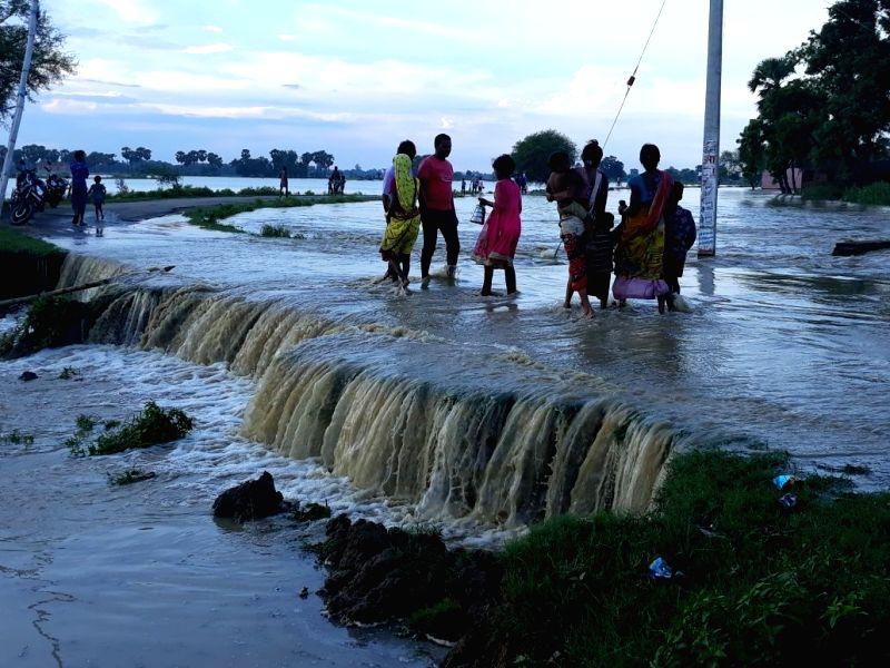 A view of the flood hit Nalanda district of Bihar on Aug 8, 2018.