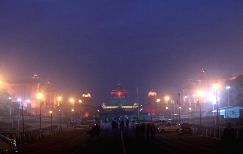 A view of the illuminated North and South Block ahead of the Beating Retreat ceremony in New Delhi on Jan 27, 2018.