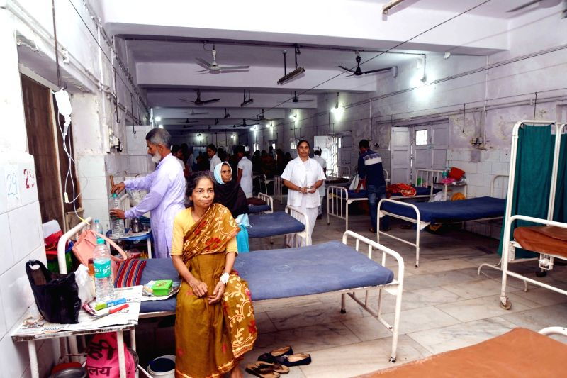 A view of the Intensive Care Unit (ICU) of Nalanda Medical Hospital after the logged water was cleaned up, in Patna on July 30, 2018.