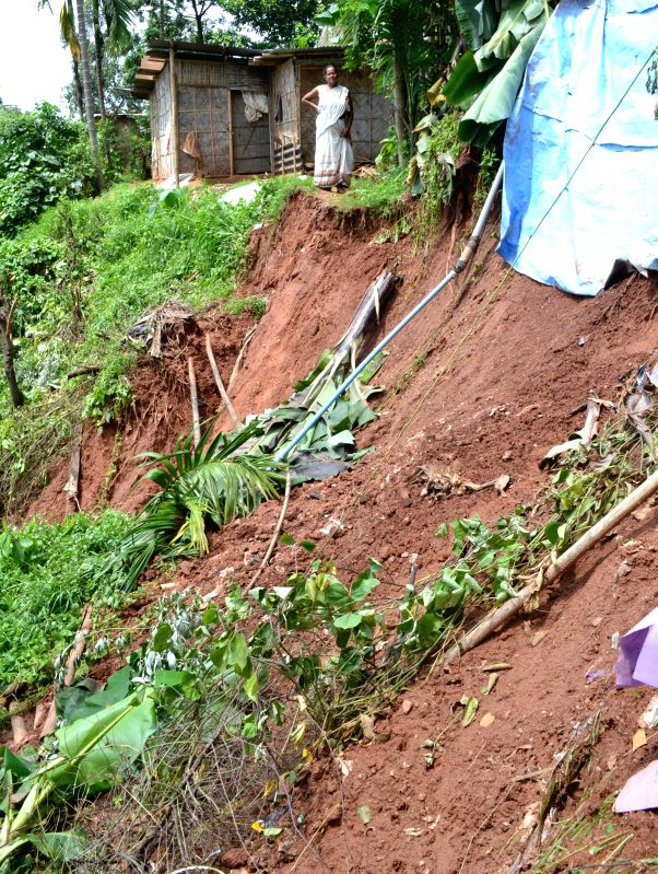 A view of the landslide at Kharguli Joypur in Guwahati on June 28. 2014.