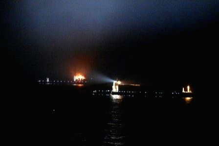 A view of the merchant navy ship MV Maersk Honam that witnessed an explosion followed by a massive fire, at Agatti Isles in Lakshadweep on the night of March 6, 2018. The ICG's Maritime ...