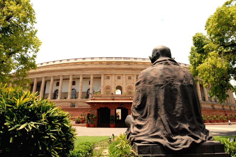 A view of the Parliament ahead of declaration of 2014 Lok Sabha Polls in New Delhi on May 15, 2014.