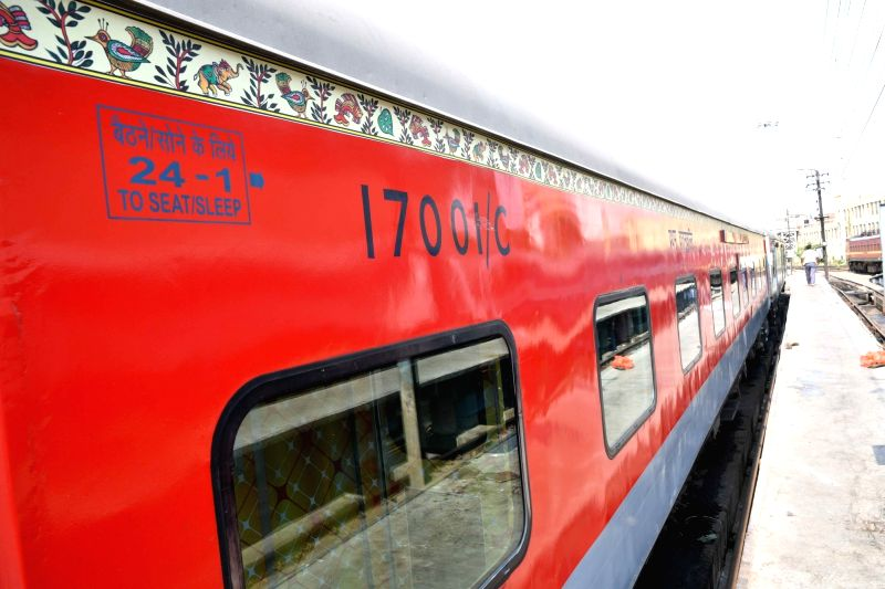 A view of the Rajendra Nagar New Delhi Rajdhani Express decorated with Mithila painting, in Patna on June 9, 2018.