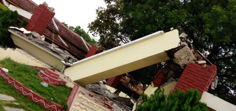 A view of the roof of the concrete shed that collapsed in the premises of New Century Public School killing two girl students and injuring five others in Kukatpally area of Hyderabad on ...