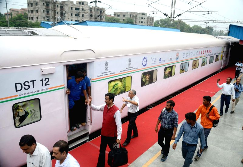 A view of `The Science Express - Biodiversity Special` which was flagged off from Safdarjung Railway Station, in New Delhi on July 28, 2014.