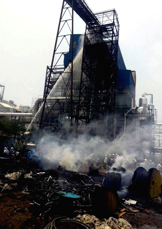 A view of the sugar factory where a fire broke out in Maharashtra's Solapur on May 11, 2017.