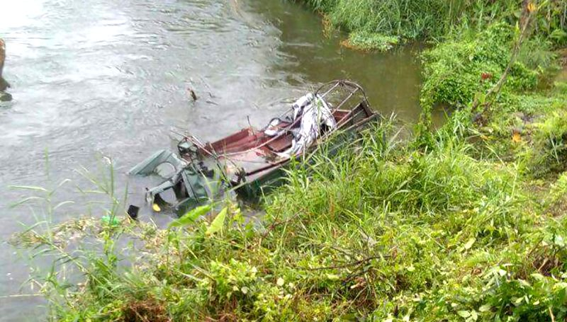 A view of the vehicle of Madras Regiment that tumbled down the road and fell into Kundil river in Arunachal Pradesh's Lower Dibang Valley district, on April 22, 2018.