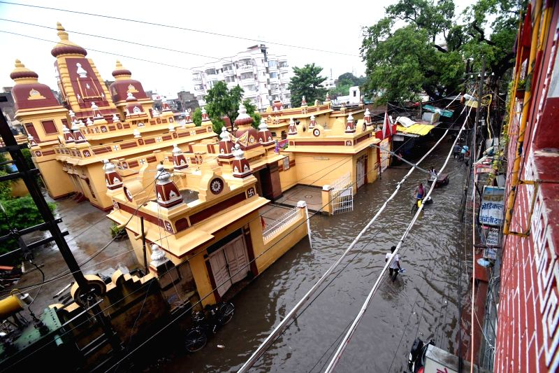 A view of the water-logged Birla Mandir Road after heavy rains lashed Patna on July 28, 2018.