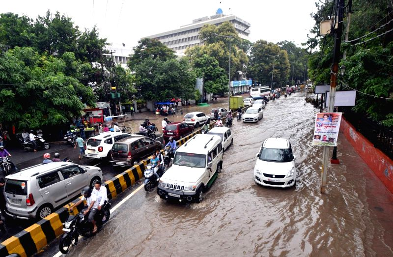 A view of the water-logged street near Gandhi Maidan after heavy rains lashed Patna on July 28, 2018.