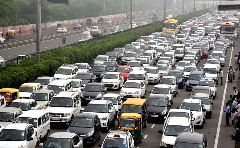 A view of traffic jam due to heavy downpour in Gurgaon on July 26, 2016.