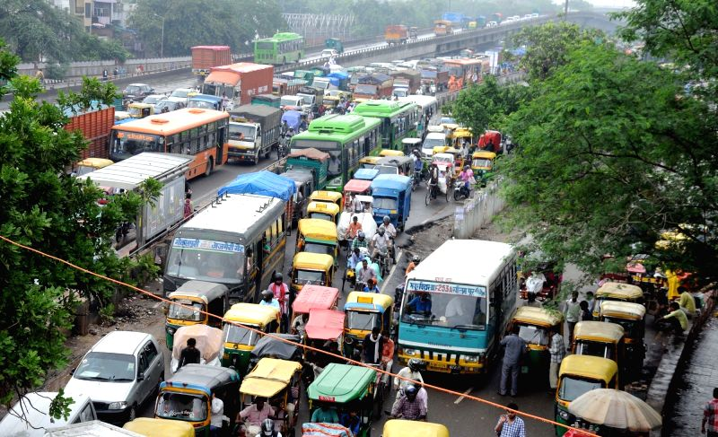 A view of traffic jam due to heavy downpour in New Delhi on July 29, 2016.