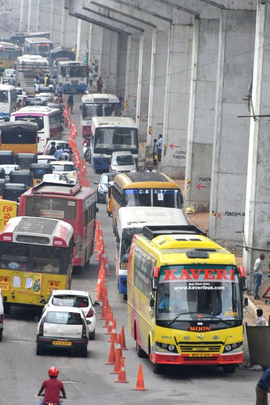 A view of traffic jam due to heavy downpour in Hyderabad on July 26, 2016.