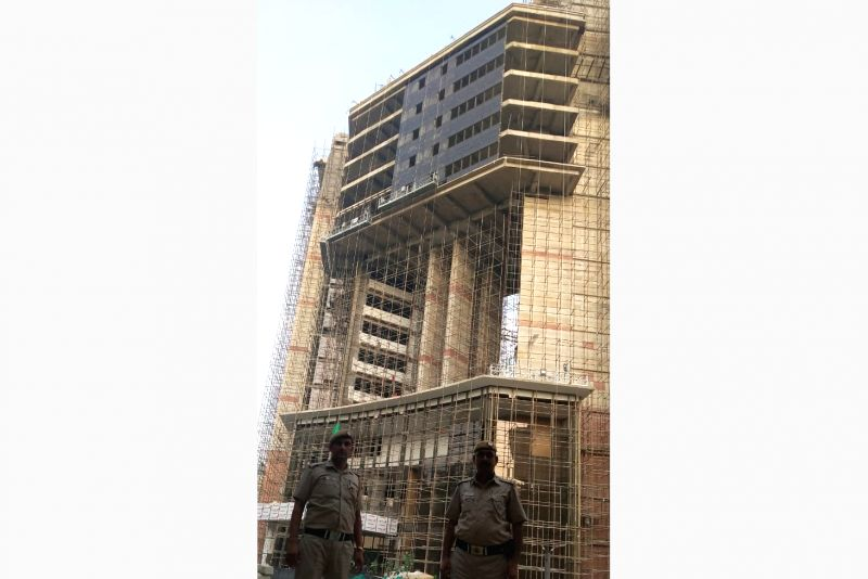 A view of under-construction building of the new Delhi Police Headquarters coming up near Parliament in New Delhi. (Photo: Sanjeev Kumar Singh Chauhan/IANS)
