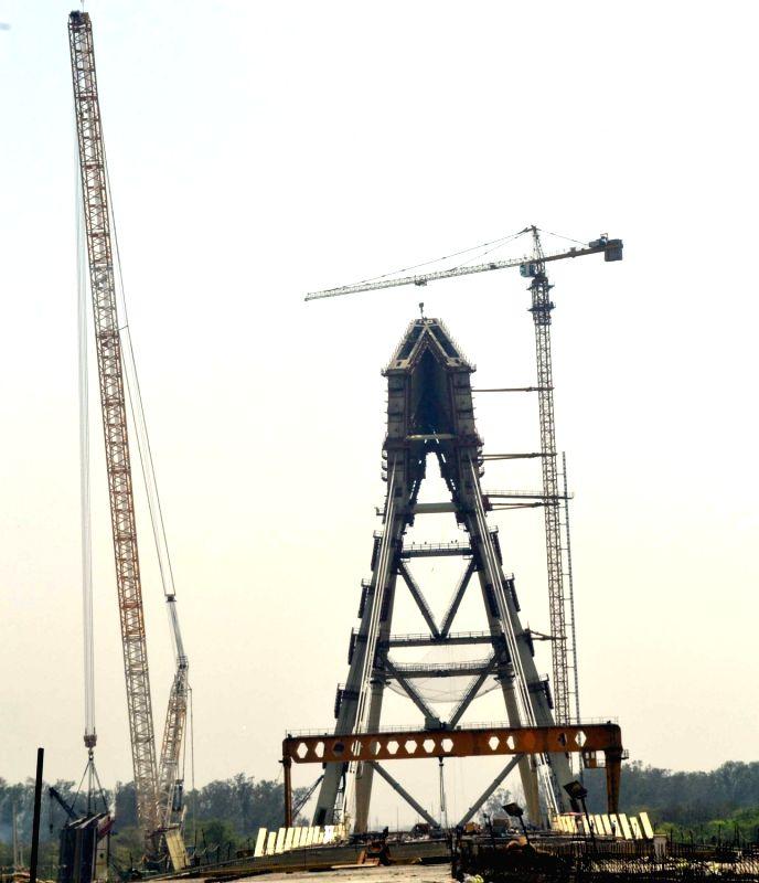 A view of under construction Signature Bridge in north Delhi's Wazirabad on June 2, 2017.