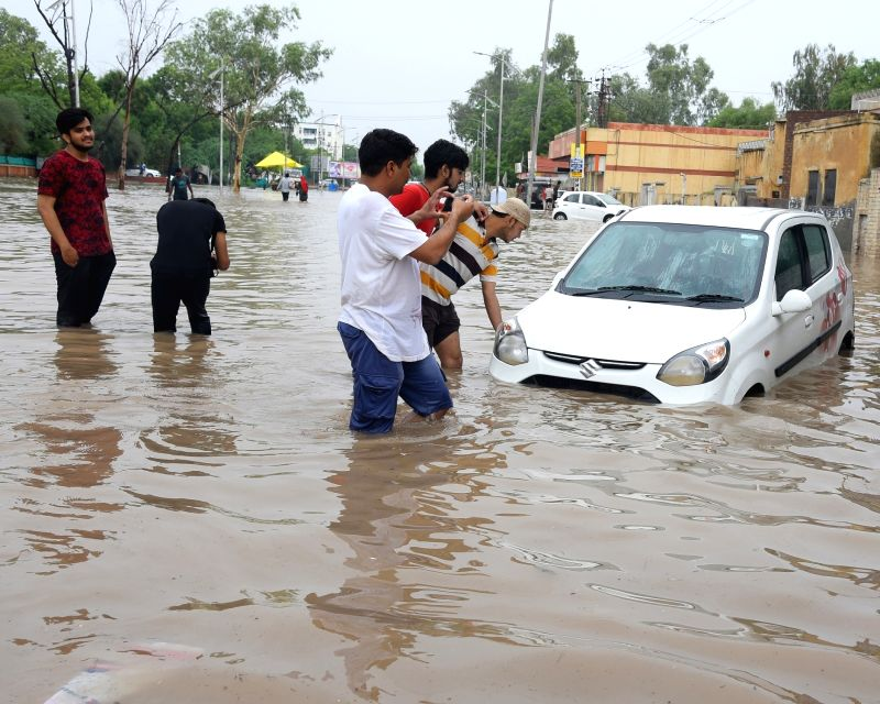 A view of water-logged Bikaner on July 22, 2018.