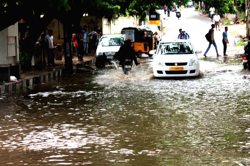 A view of water logged streets of Hyderabad on June 8, 2017.