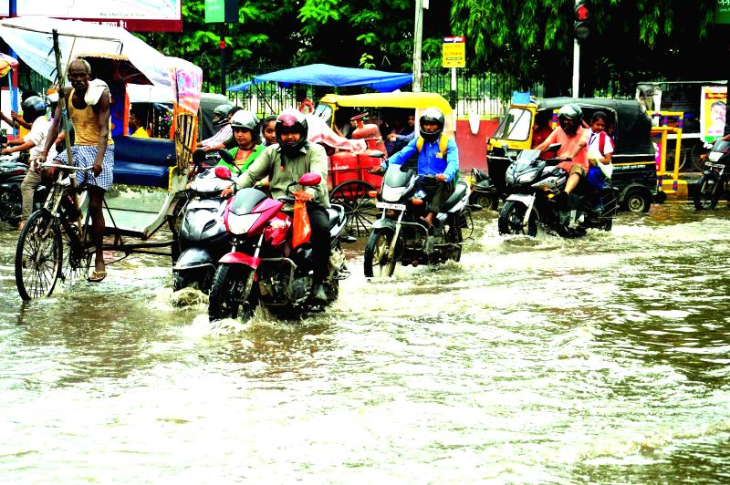 A view of water logged streets of Patna after heavy rains on Aug 4, 2017.