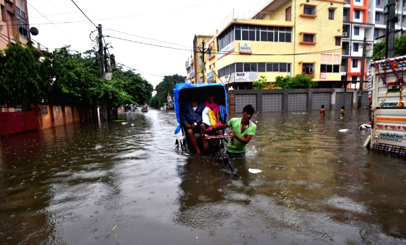 A view of water-logged streets of Patna on July 29,  2018.