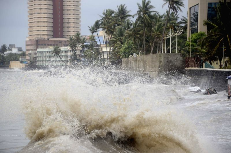 A view of waves in the Arabian Sea during high tide in Mumbai on July 14, 2014.