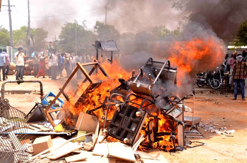 A violent protest erupted in Khammam Agricultural Market yard after a group of Telangana chilli farmers ransacked offices in the Khammam Agricultural Market, in Khammam, Telangana on April ...