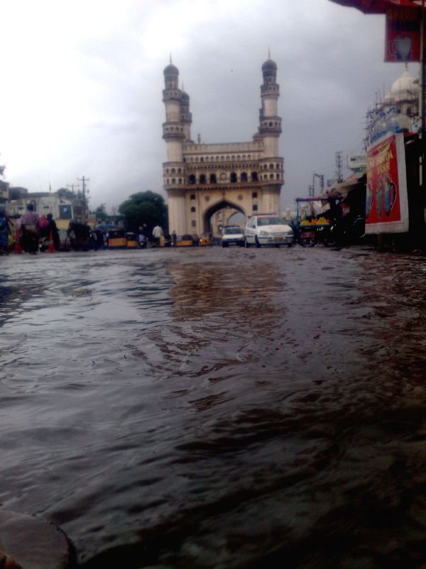 A water logged street of Hyderabad after heavy rains lashed the city on May 9, 2014.
